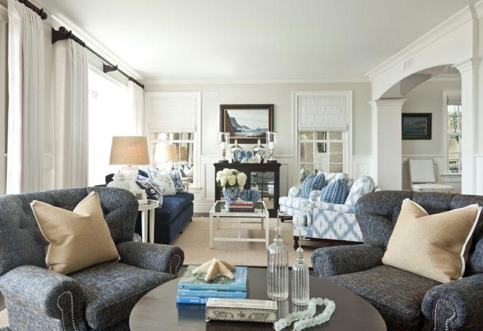 landhausstil wohnzimmer blumen tischleuchten weiße gardinen | HAUS ...