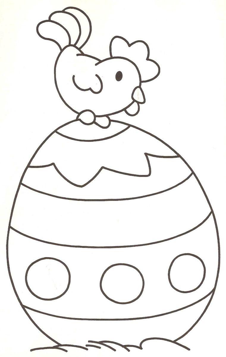 Disegno Di Un Uovo Grande Da Colorare Con Gallo Lavoretti Di Pasqua