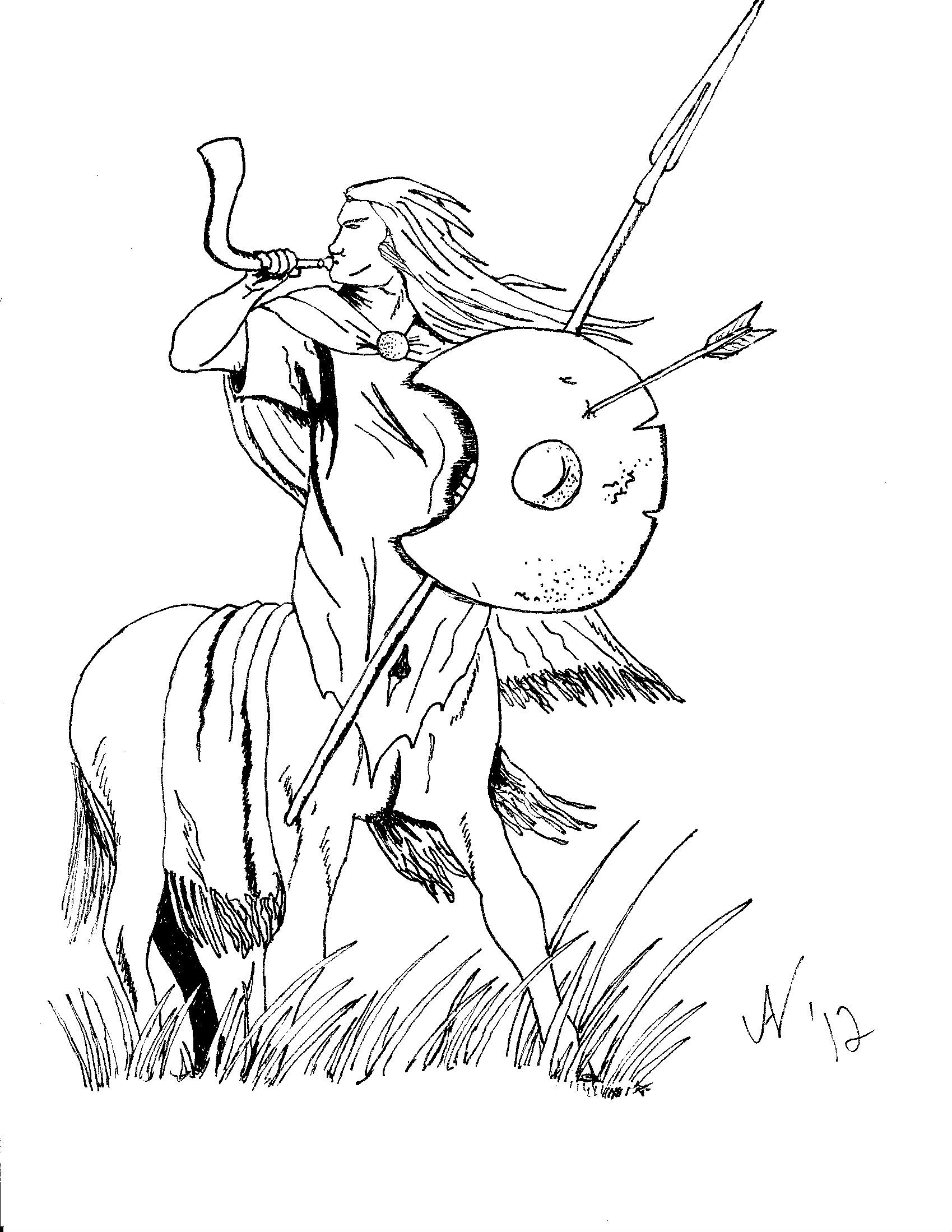 Centaurs Blowing Horns Coloring Pages For Kids Cb2 Printable Centaurs Coloring Pages For Kids