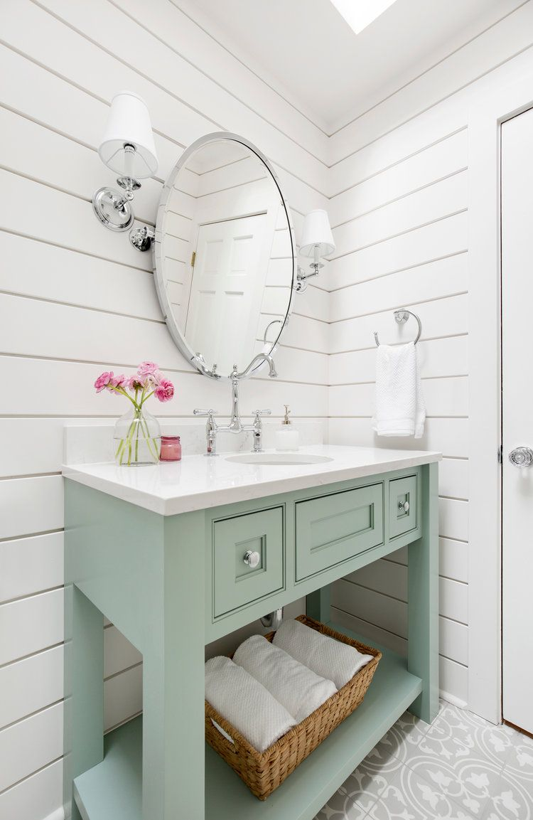 Project Showcase Kirkland Remodel Powder Room Vanity Seafoam Green Bathroom Modern White Bathroom
