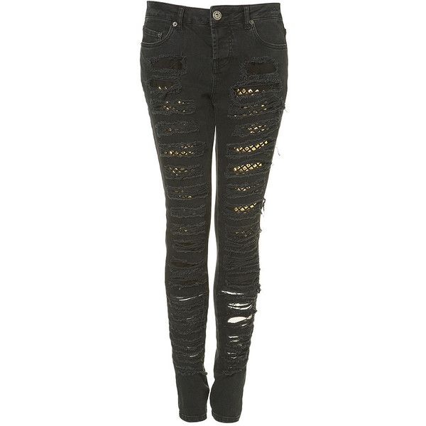 Stud Ripped Skinny Jeans ❤ liked on Polyvore