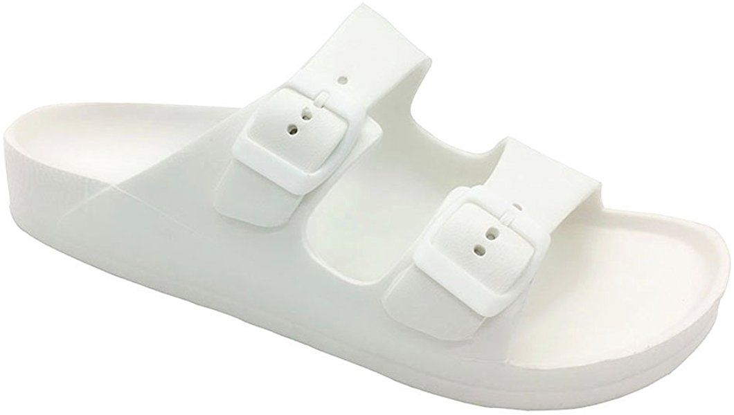 1e6f2bd6d1a0 Amazon.com | Funkymonkey Women's Comfort Slides Double Buckle ...