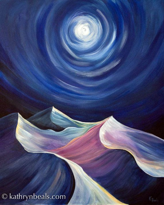 Night Sky Over Desert Dunes Painting Stretched By Kathrynbeals Landscape Paintings Acrylic Sky Painting Night Sky Painting