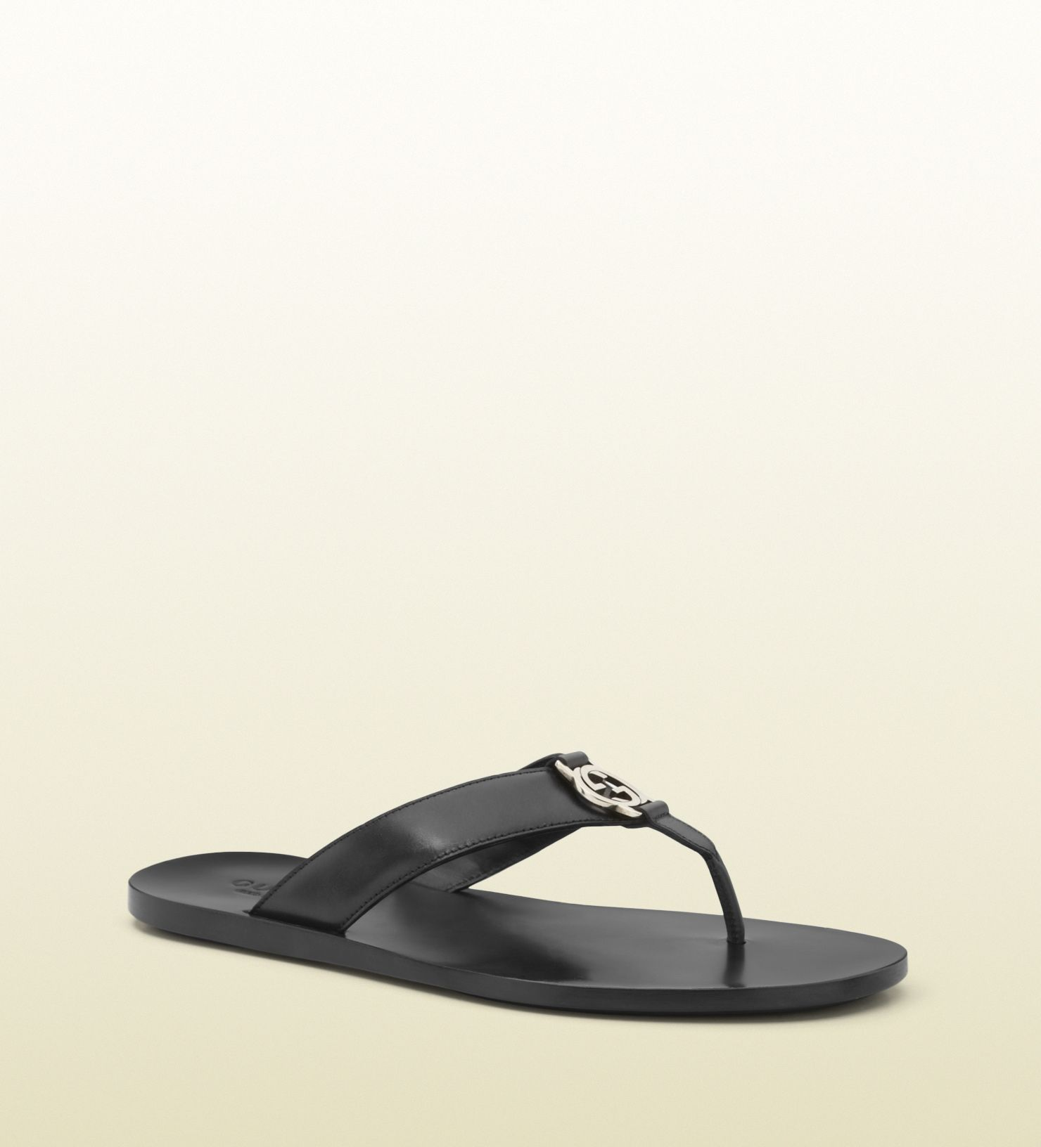 a6e3de5ee0b3 Gucci - 322740 A4HD0 1000 - black leather thong sandal - black leather Made  in Italy interlocking G detail leather sole