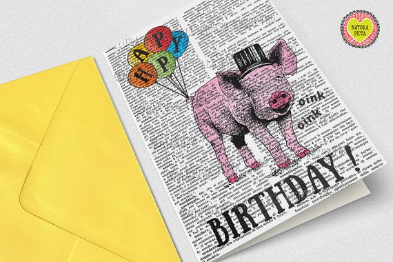 Pig birthday card motivational card funny pig by naturapicta items similar to pig birthday card motivational card funny pig card invitation animal card funny card friendship card quote card by natura picta npgc094 on bookmarktalkfo Image collections