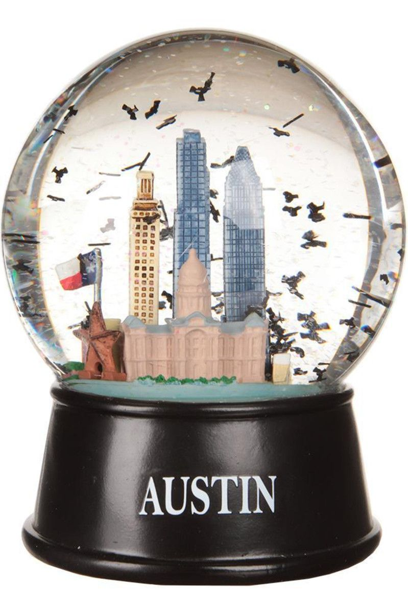 Austin texas flying bats snow globe with images snow