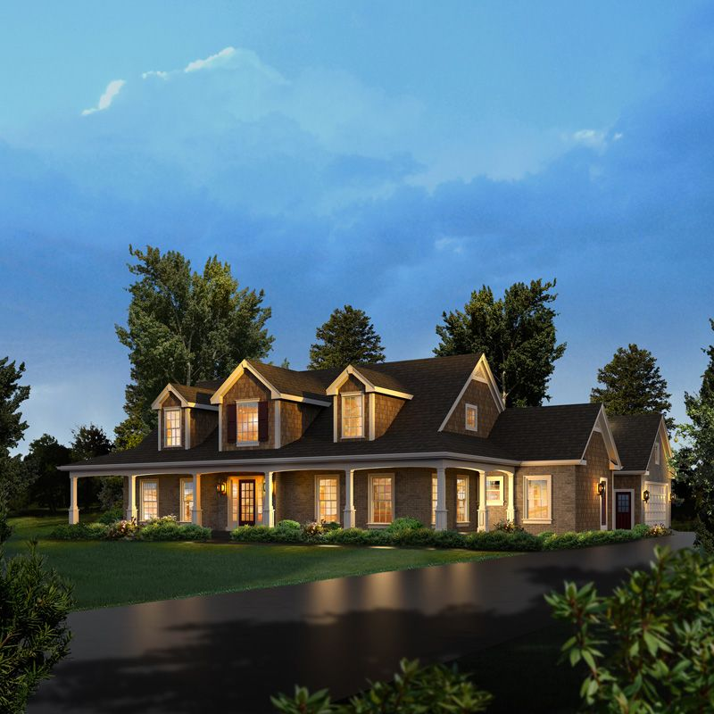 Luxury Ranch Homes: Rachel Country Ranch Home Colonial Floor Plan Front Of