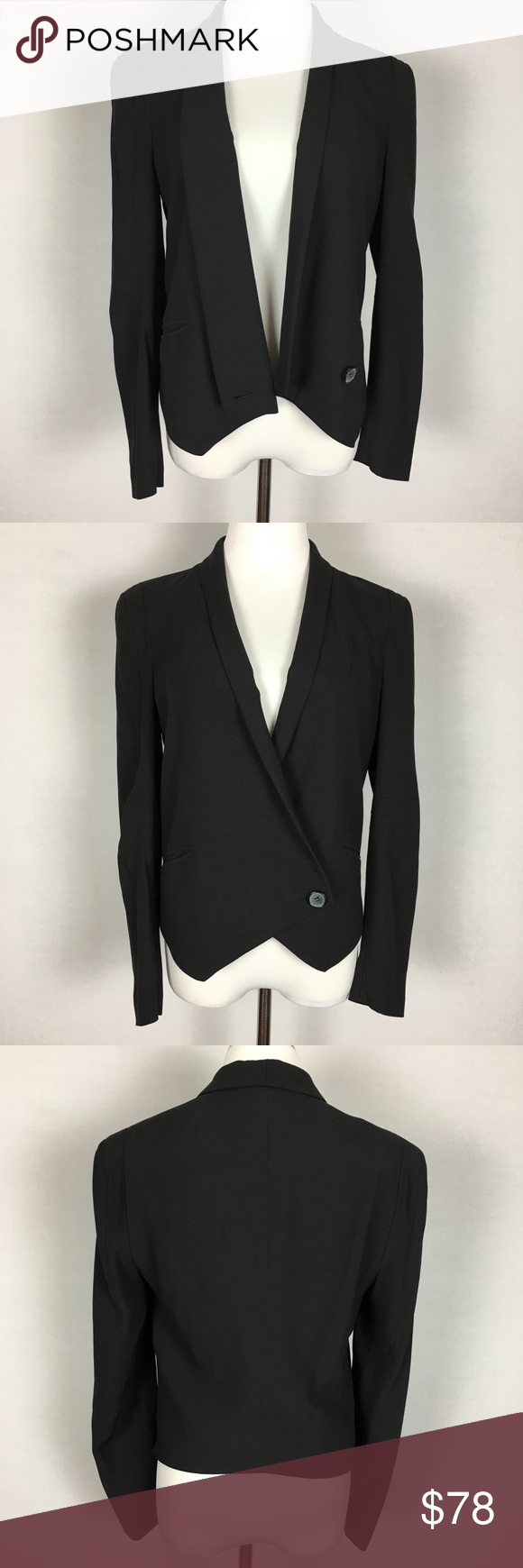 "Rebecca Minkoff ""Becky"" 100% Silk Tuxedo Blazer Versatile and stylish, this luxurious blazer is a celebrity favorite! Black Rebecca Minkoff ""Becky"" one button tuxedo blazer. Shell and lining are 100% silk. Size medium. In excellent condition with no flaws!  Measurements (Measured across while laid flat.) Waist with button closed: 17.5 Length from back of neck to bottom hem:19"" Rebecca Minkoff Jackets & Coats Blazers"