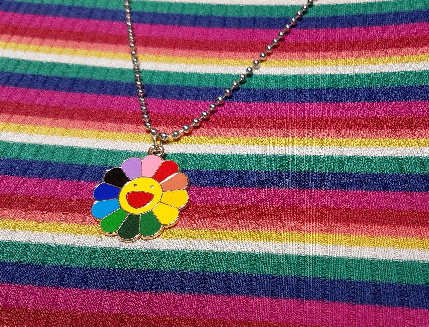 Takashi Murakami flower artist necklace Billie Eilish