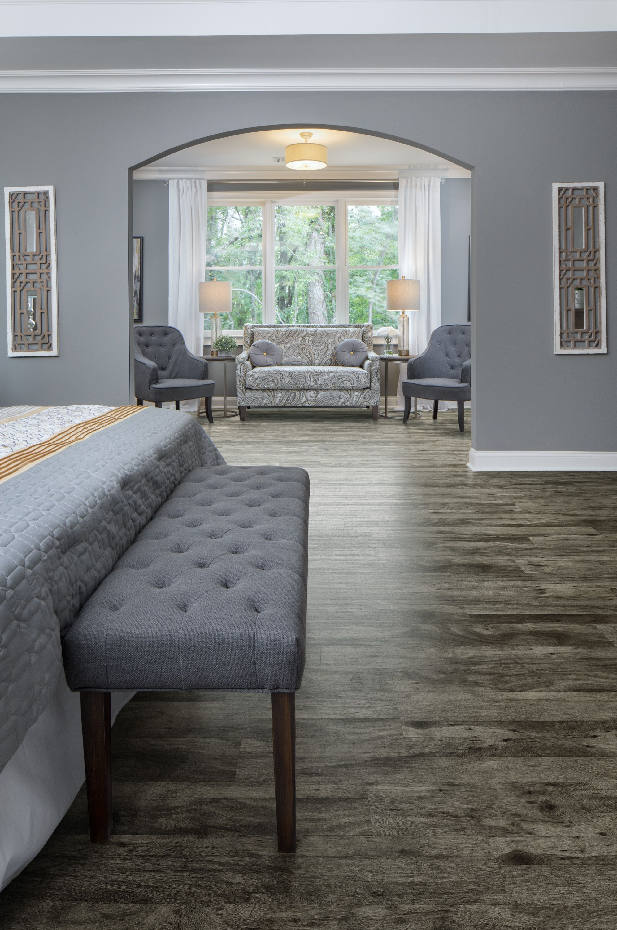Customize Your Bedroom Floors Featuring Luxury Vinyl Plank And Tile Point Of View From Our Design Mix Floorin Vinyl Flooring Custom Floor Design Floor Design