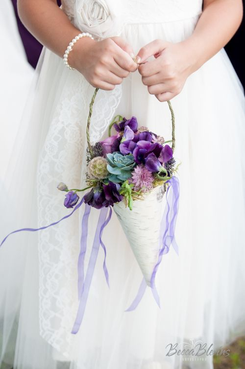 Oh how i prefer this adorable flowergirl paper cone to the typical oh how i prefer this adorable flowergirl paper cone to the typical satin basket purple wedding flowersblue mightylinksfo Image collections