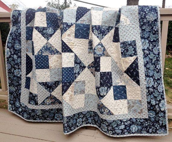 Throw Quilt Snowbird HANDMADE Patchwork Quilt Laundry Basket ... : navy blue and white quilt - Adamdwight.com