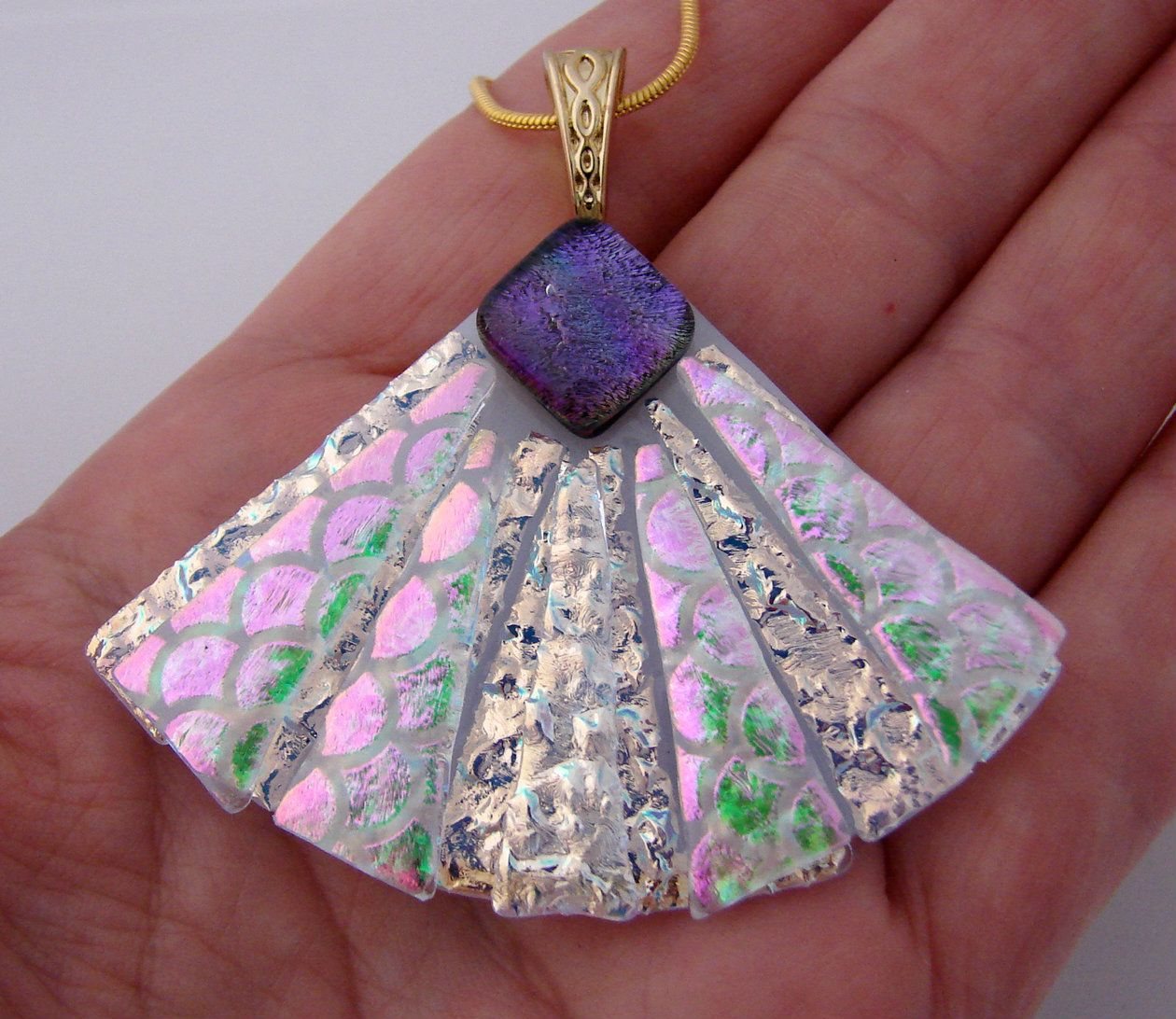 Dichroic Glass Picasso Style Fan Pendant