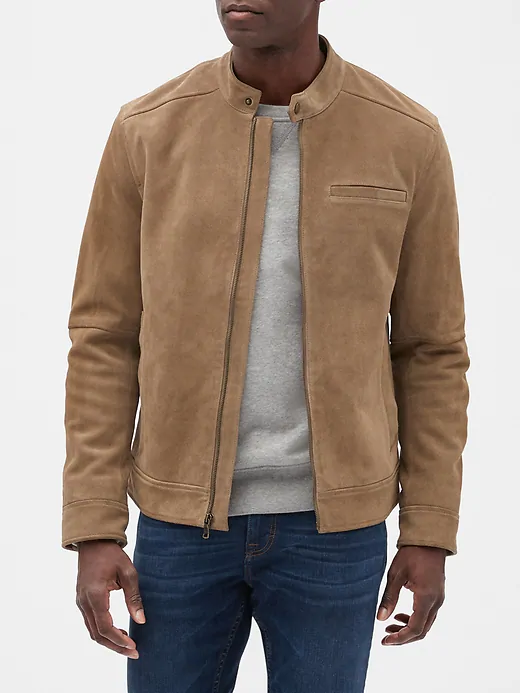 Suede Leather Jacket Banana Republic Factory Mens