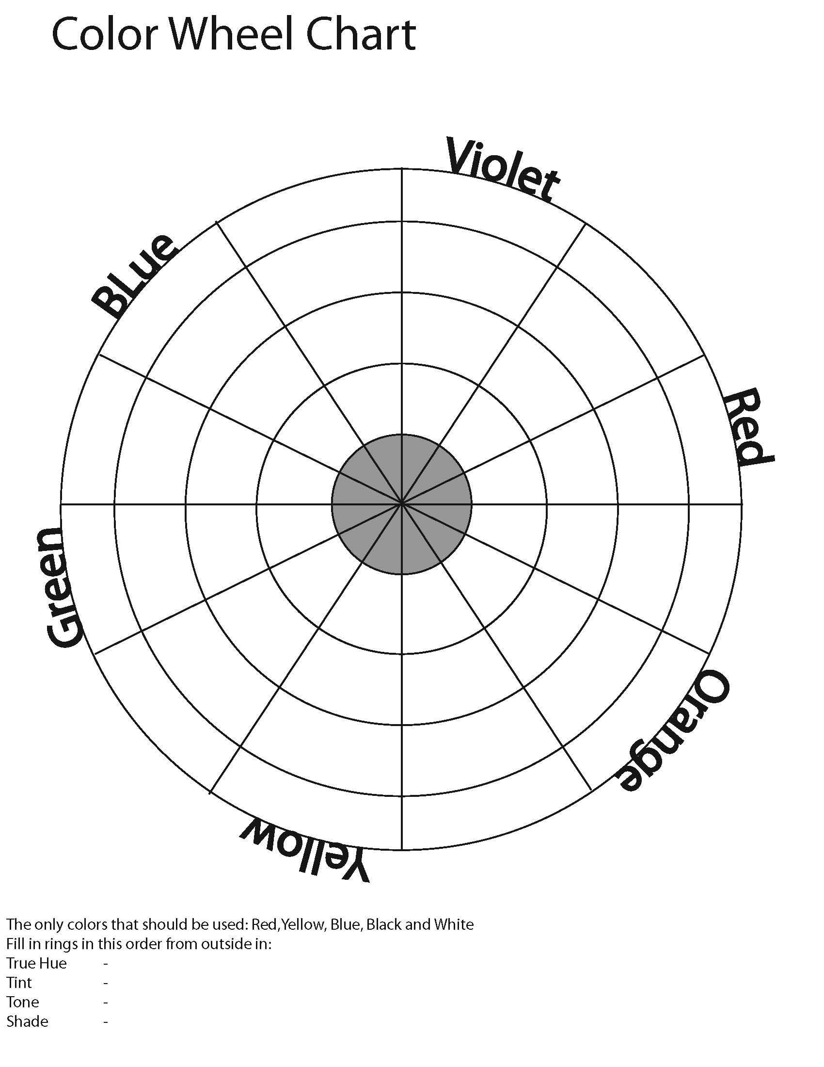 Printable Color Wheels Color Wheel Color Wheel Worksheet