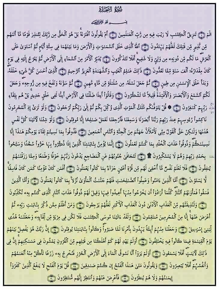 سورة السجدة بطاقة واحدة Quran Verses Quran Arabic Word Search Puzzle
