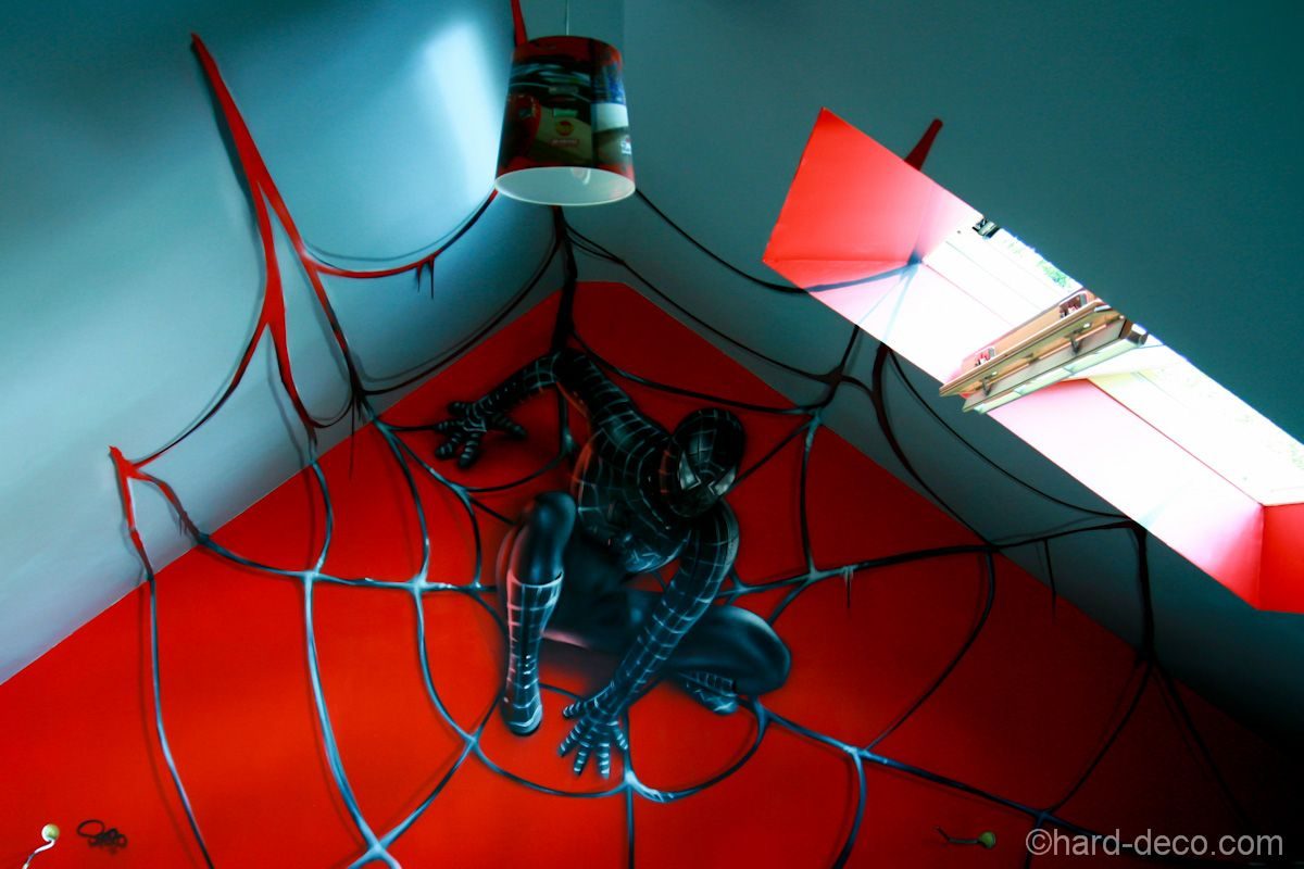 trompe l 39 oeil spiderman noir chambre de gar on pinterest chambres de gar on d coration. Black Bedroom Furniture Sets. Home Design Ideas