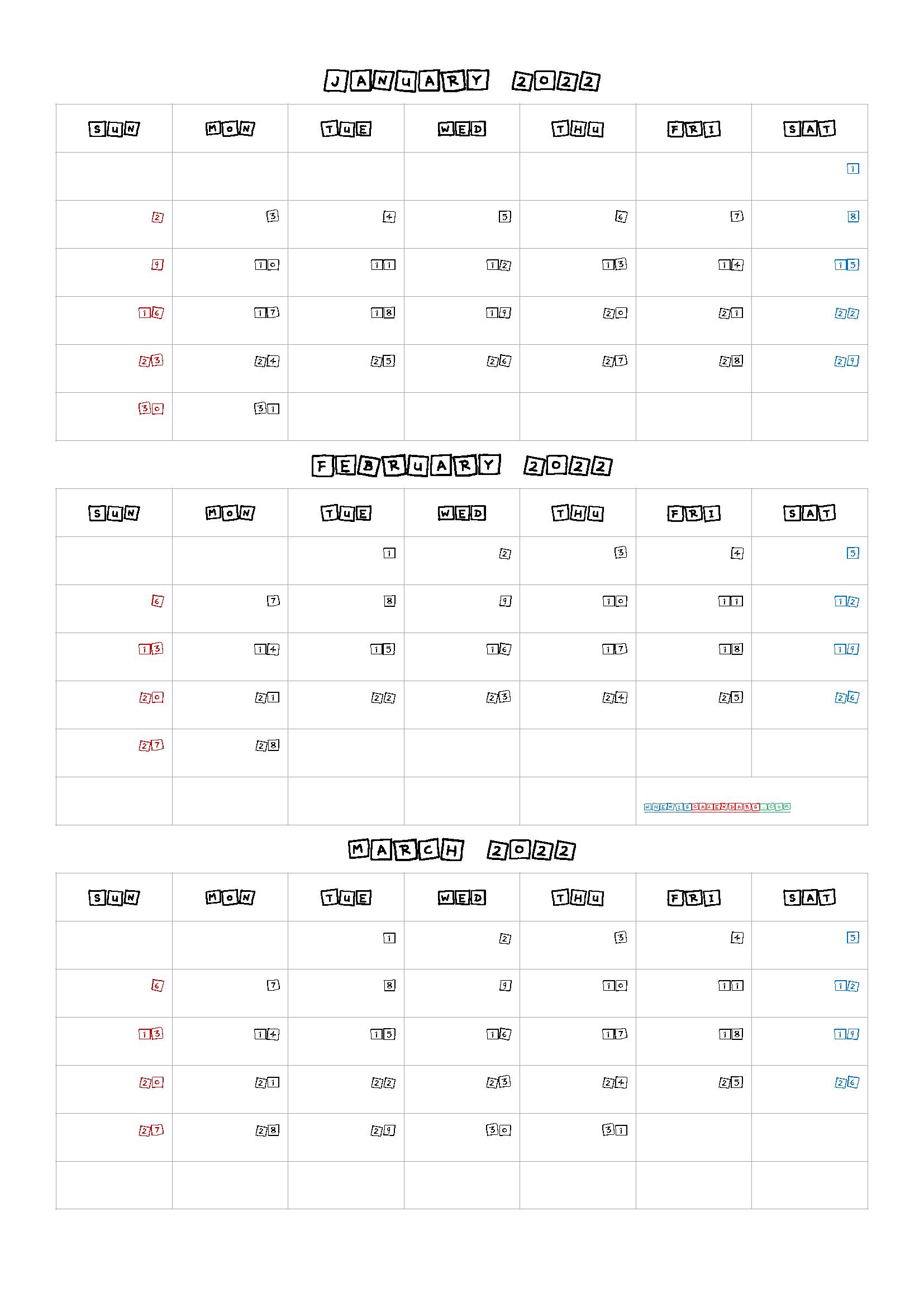 January February March 2022 Printable Calendar Q1 Q2 Q3 Q4 In 2020 Printable Calendar July Printable Calendar January February March