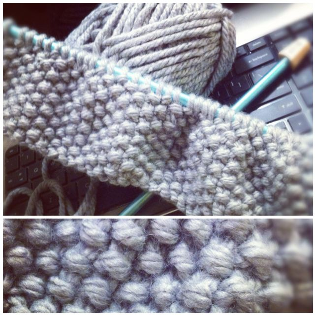 Knitting an infinity cow scarf right now with Lion Brand Hometown USA