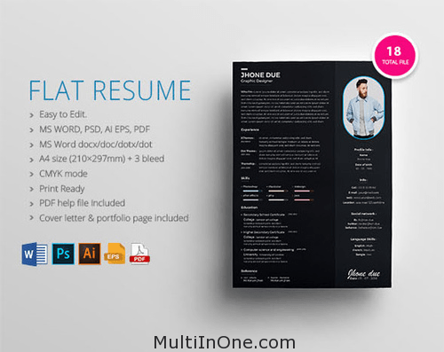flat resume psd ai eps pdf docx free download mockups
