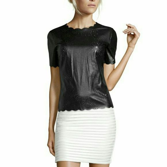 BCBGMAXAZRIA Tulum Faux Leather Crew neck with cutout details, Short sleeves, Back zip closure, Chest darts, Allover faux leather perforated construction, Scallop hem *New Without Tag*** BCBGMaxAzria Tops