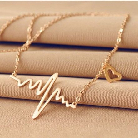 Rose Forever Love Heartbeat Design Heart-shaped Short Paragraph Stainless Steel Necklace - perfect gift for a nursing student or a nurse