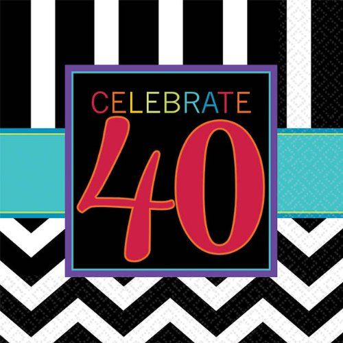 MustHave Chevron and Stripes 40th Birthday Party Beverage Napkins Tableware Pack of 16 Multi  5x5 Paper >>> Find out more about the great product at the image link.