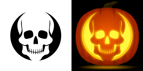 skull pumpkin carving stencil free pdf pattern to download and print at http