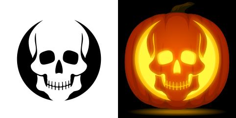 Skull pumpkin carving stencil free pdf pattern to for Free skull pumpkin carving patterns
