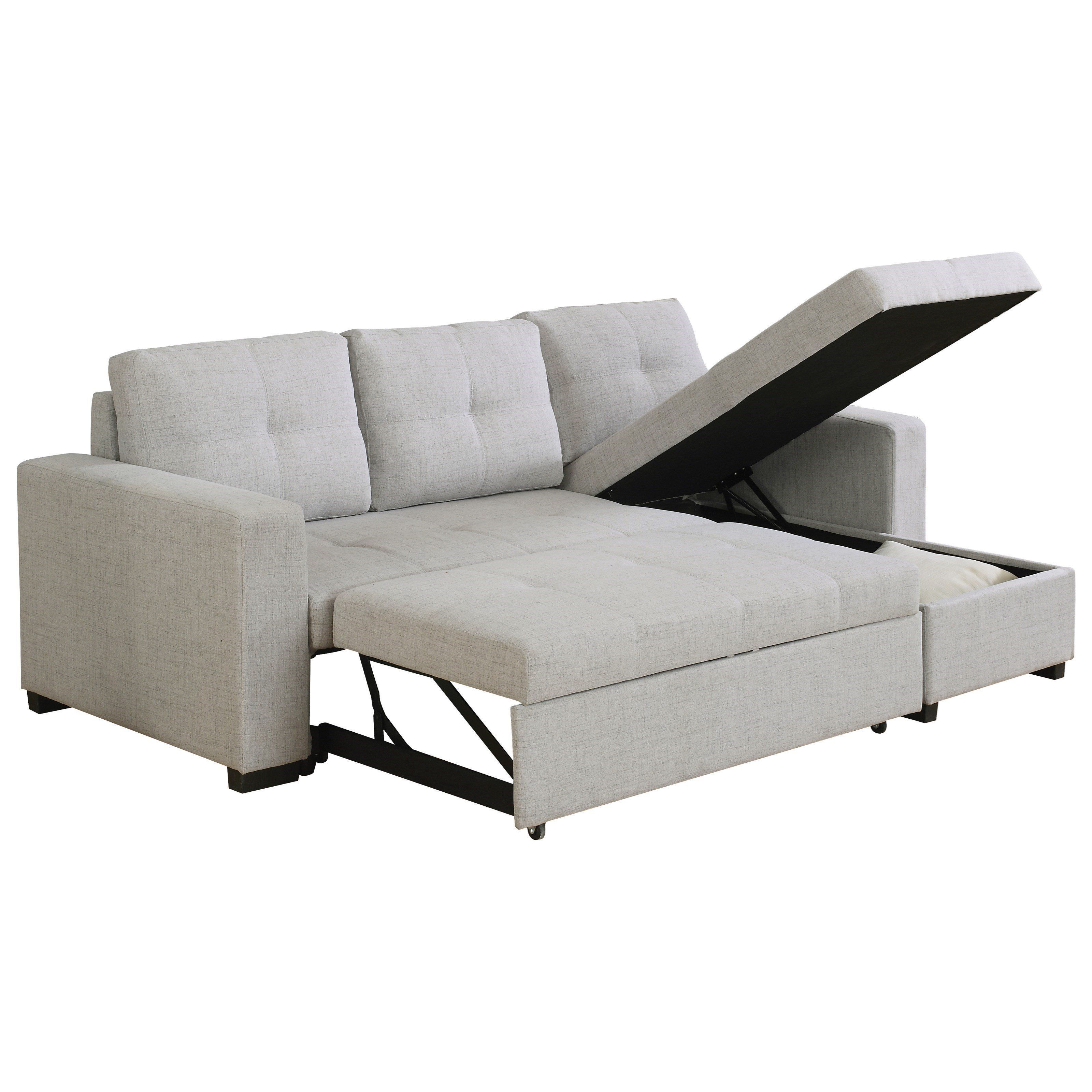 Used Sofas Online: Beige Sectional Sofa With Sleeper