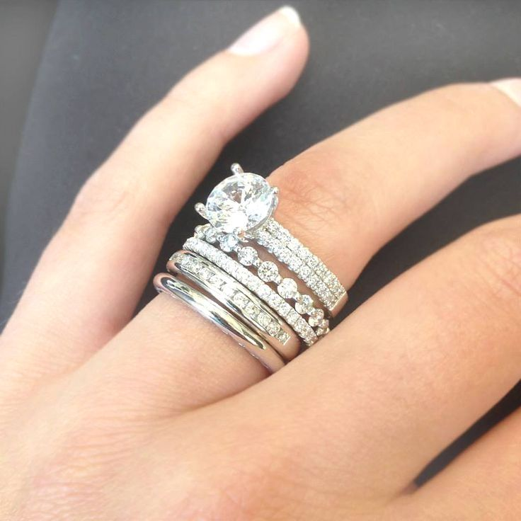 Solitaire Engagement Rings Ritani Wedding And Engagement Rings Vintageengagementrings Stacked Wedding Rings Diamond Wedding Bands Wedding Ring Trio