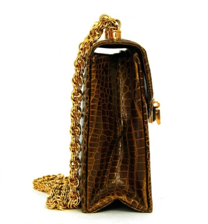 1stdibs.com | Gucci Brown Crocodile Evening Bag With 18K Gold Hardware and Tigereye