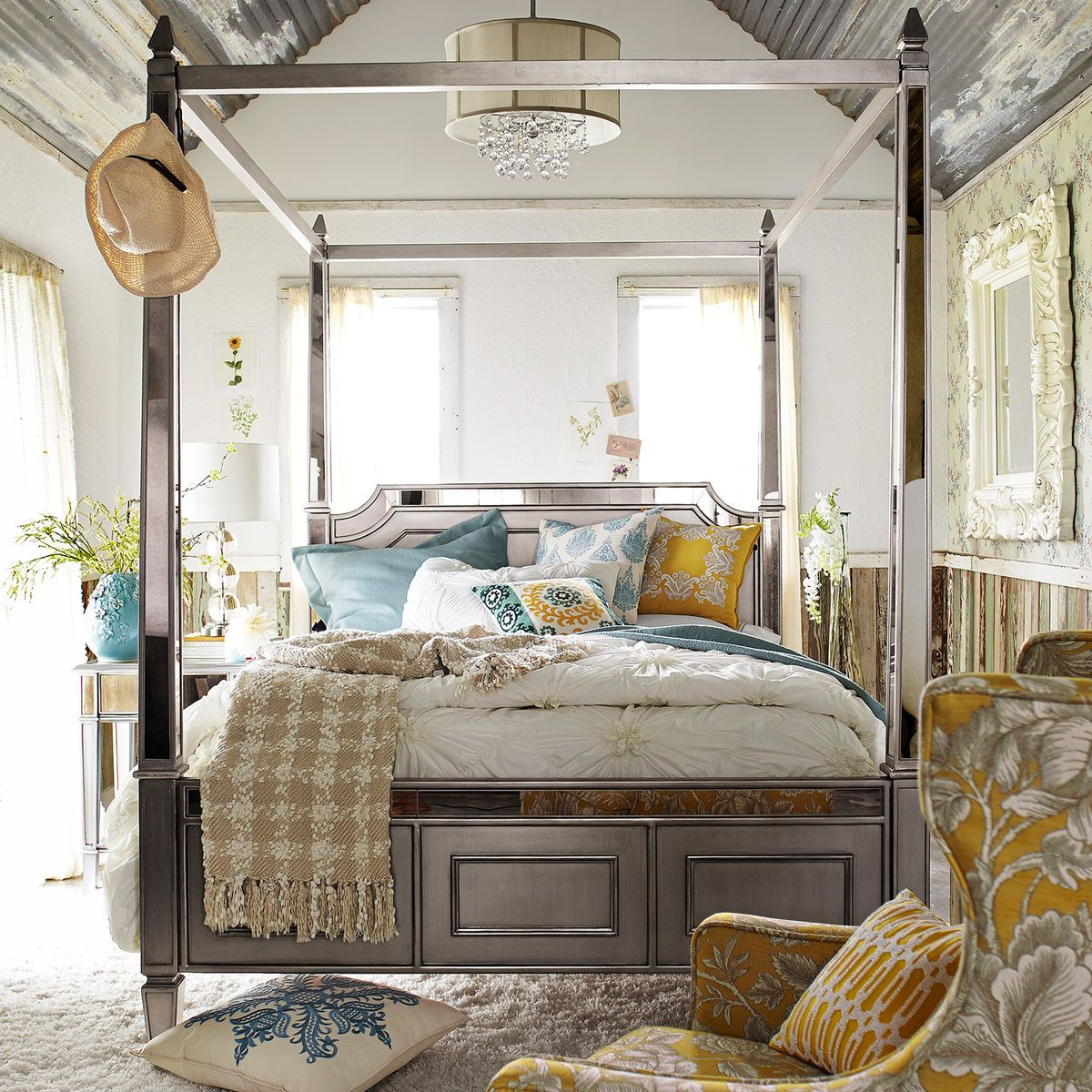 Hayworth Silver Canopy Bed Home decor, Furniture, Home