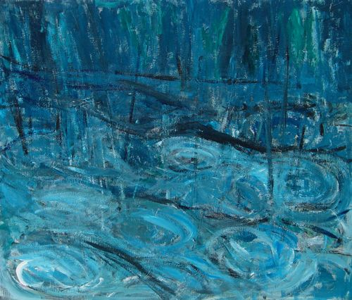 Gardens in the Rain : abstract serene rainy garden painting ...
