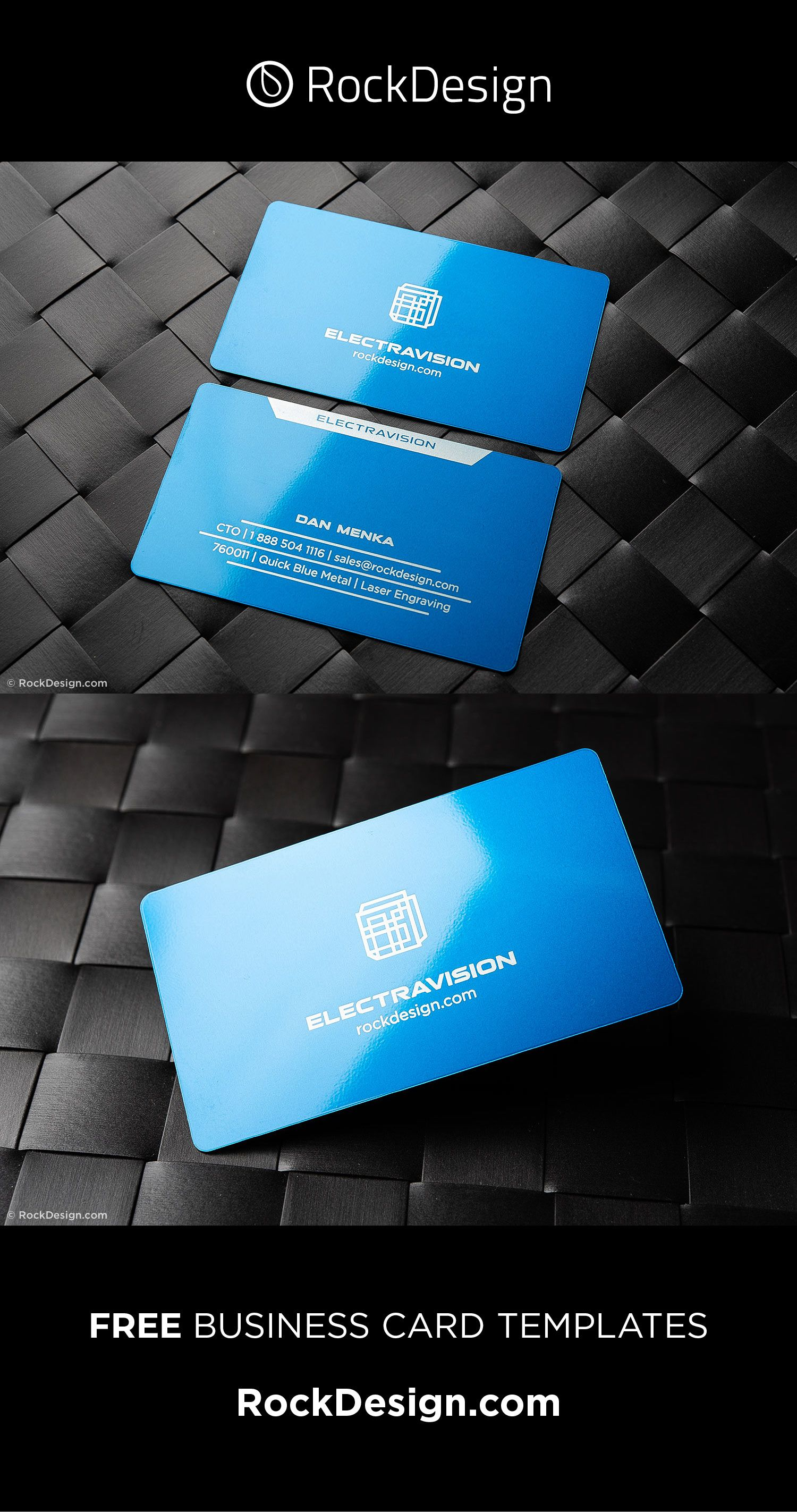 Modern Innovative Tech Free Blue Metal Name Card Template Electravision Free Business Card Design Business Card Template Design Metal Business Cards