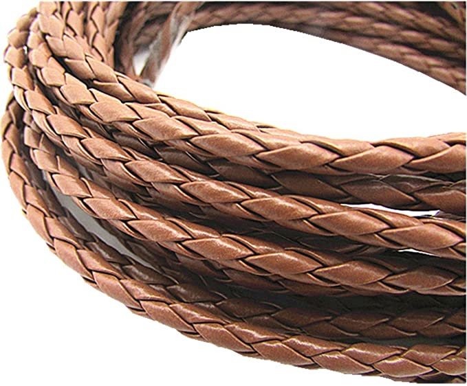 Black 4.0mm Round Folded Bolo Braided PU Leather Cords for Necklace Bracelet Jewelry Making 5meter