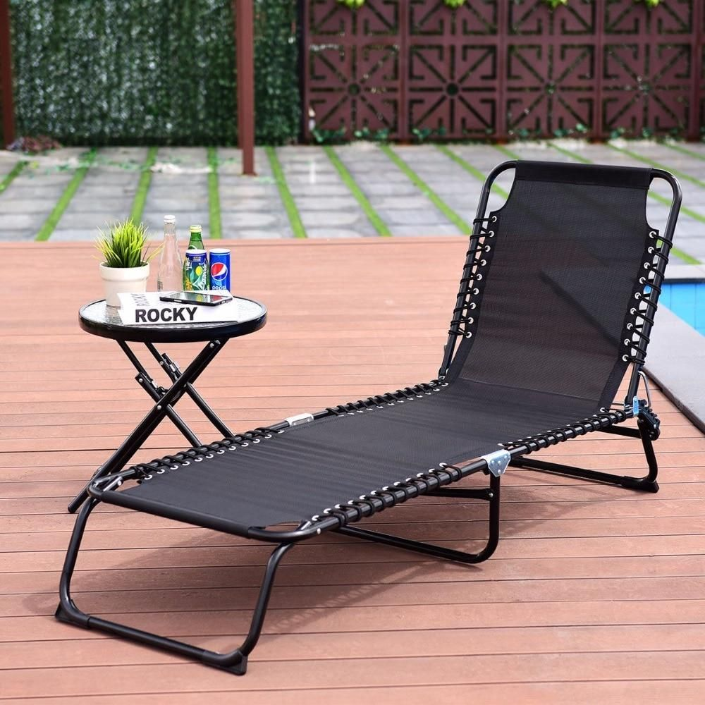 Foldable Patio Camping Cot Chaise Lounge Chair Lounge Chair Outdoor Camping Cot Chaise Lounge Chair
