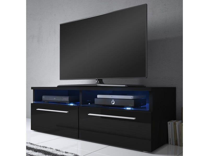 Meuble Tv Siena Avec Led 100 Cm Noir Mat Noir Brillant Vente De Meuble Tv Conforama Meuble Tv Meuble Tv Noir Meuble Tv Conforama