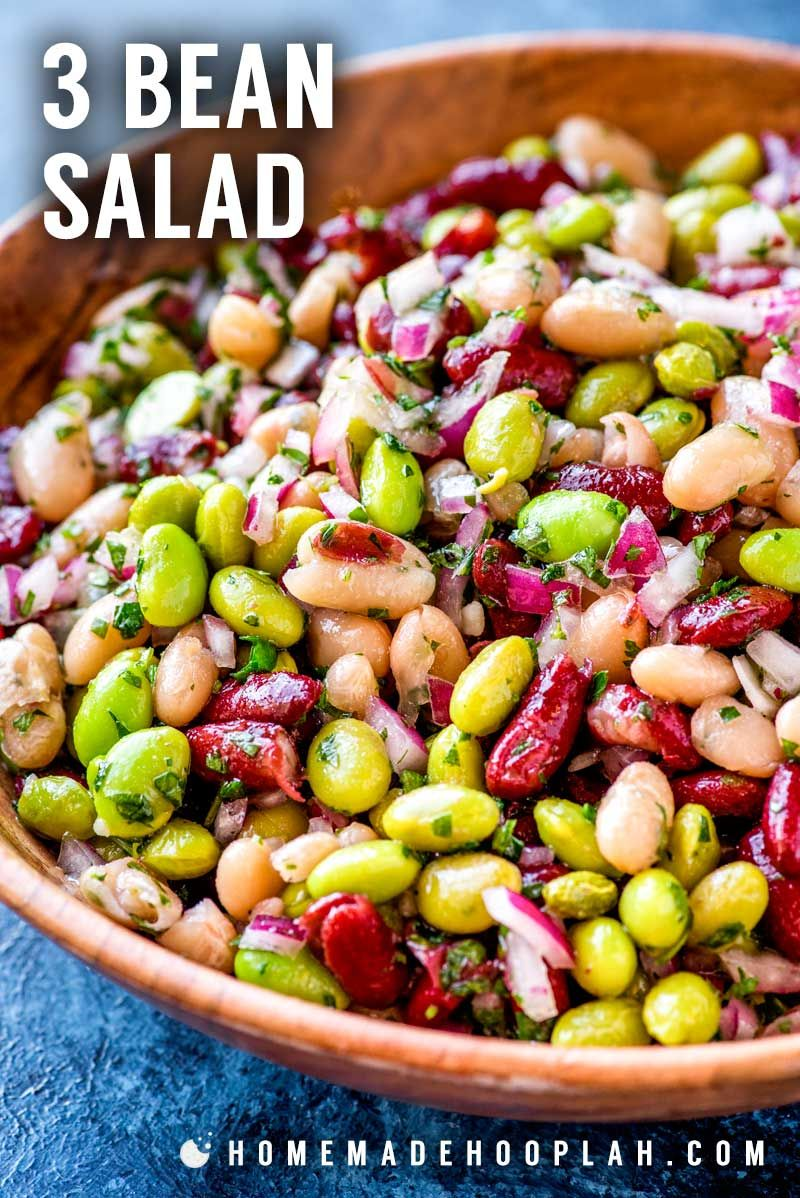 3 Bean Salad Perfect For Outdoor Summer Parties This Semi Sweet And Colorful 3 Bean Salad Is Super Easy To Whip Up And A Great Go To Side Dish Th Eten Salades
