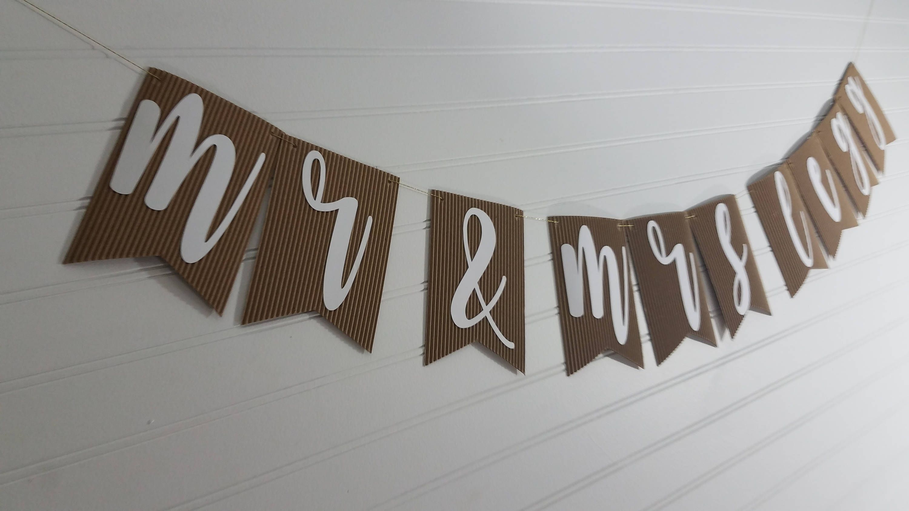 Corrugated Kraft Flag Banner Bunting Garland  Mr And Mrs,