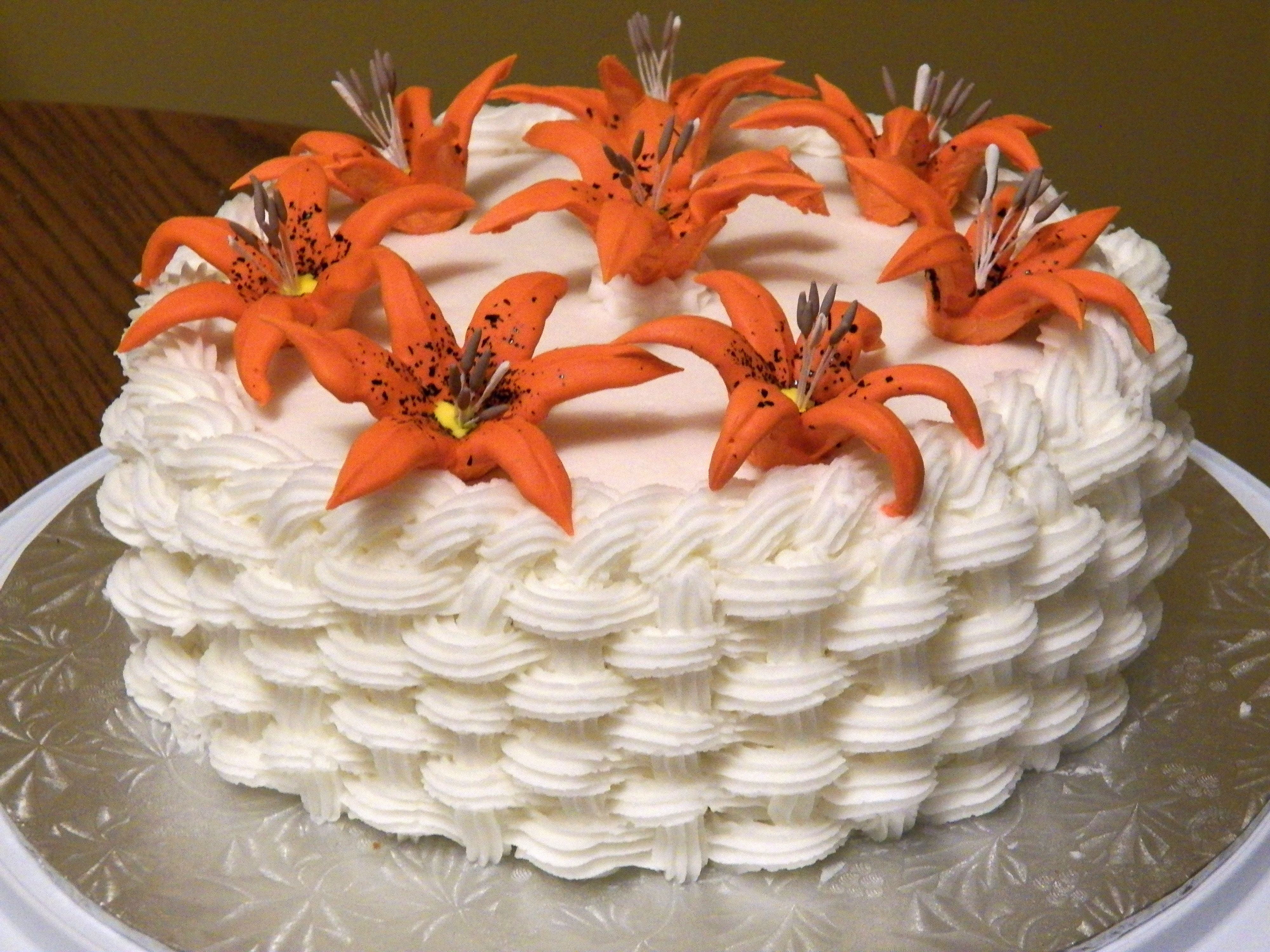 #wiltoncontest  Basket Weave Lily Cake  Final Cake: Wilton Course 2: Flower & Cake Design  Bulk Barn, Carleton Place, ON