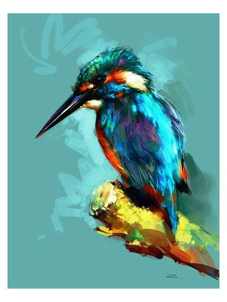 Kingfisher | Art painting, Cross paintings, Animal art