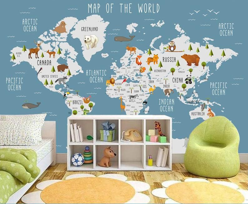 World Map Wall Mural Children Map With Animal Map Wallpaper Nursery Wall Art Removable Wallpaper Self Adhesive Geography Wall Decor In 2021 Map Wall Mural Murals For Kids Kids Wallpaper