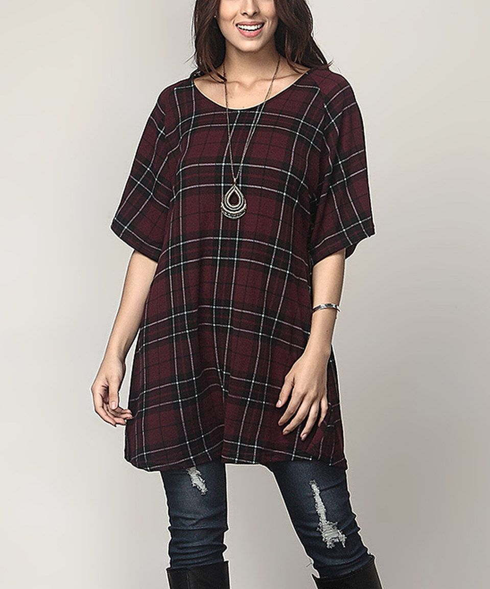 f6538ac29831 Look what I found on  zulily! Burgundy Plaid Boyfriend Tunic - Plus by  Reborn Collection  zulilyfinds