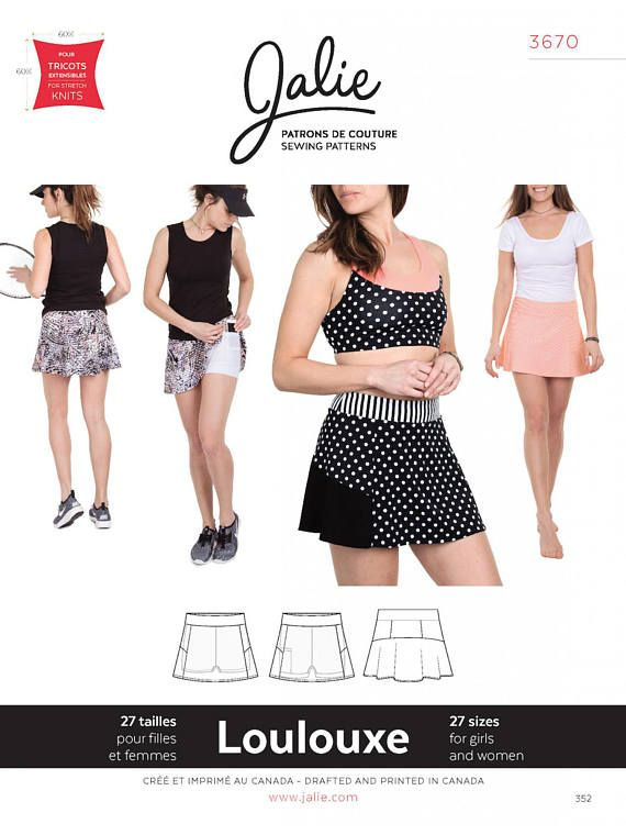 Hot Pants /& Compression Shorts Sewing Pattern Jalie 2796 Multi-Sport Skort