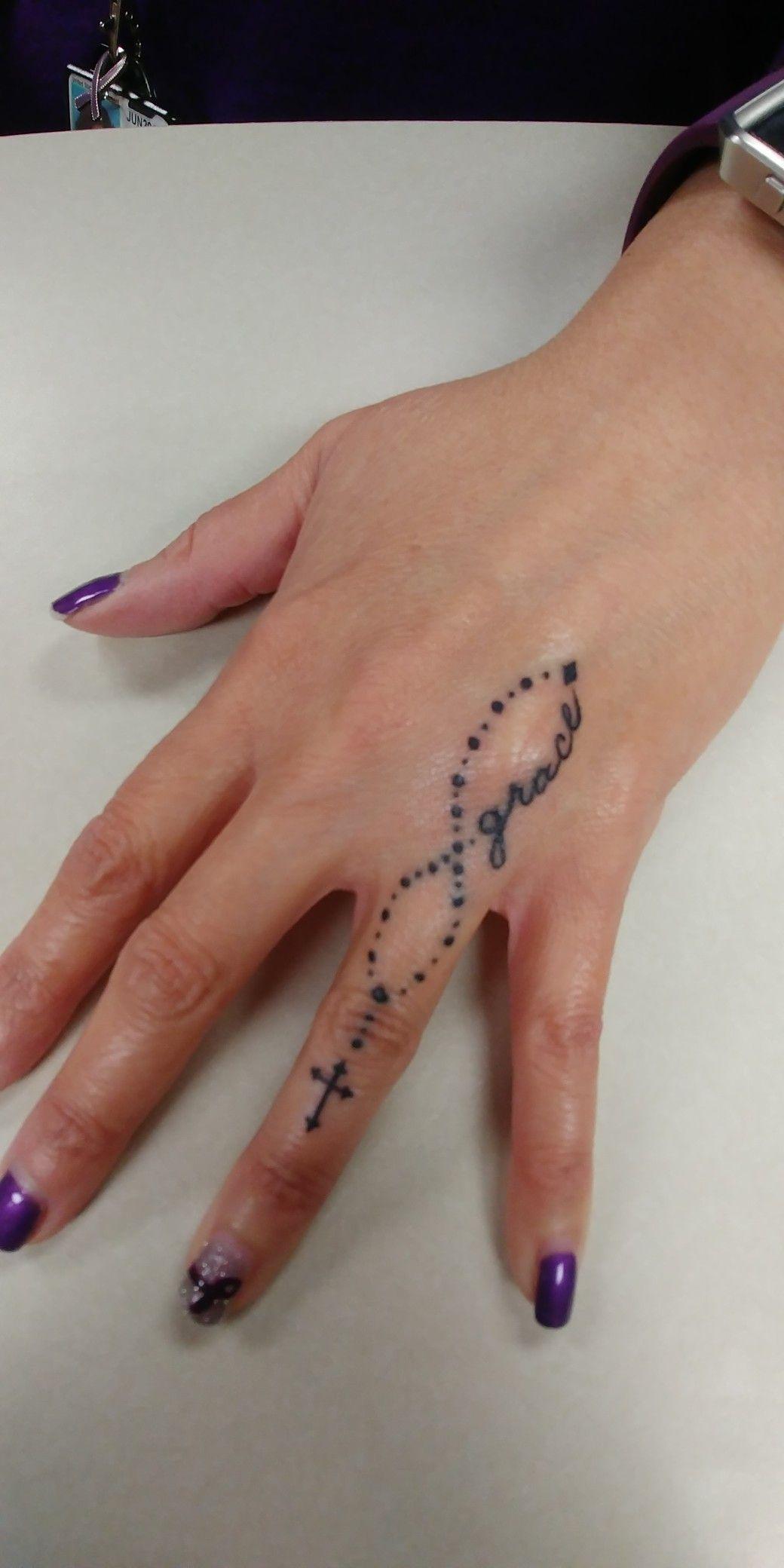 Cross on finger Wrist tattoos for women, Rosary foot