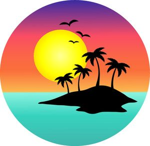 sunset clipart tropical scene with palm trees and birds 0071 clipart rh pinterest com au  beach scene clip art images