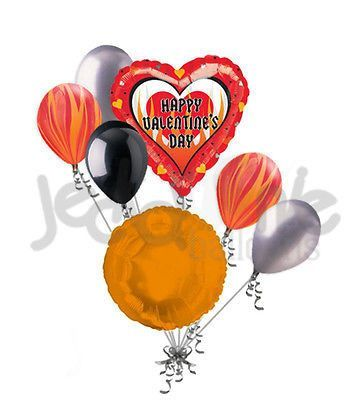 7 pc Hot Sizzle Heart Valentines Day Balloon Bouquet Be Mine Hug Kiss Love You