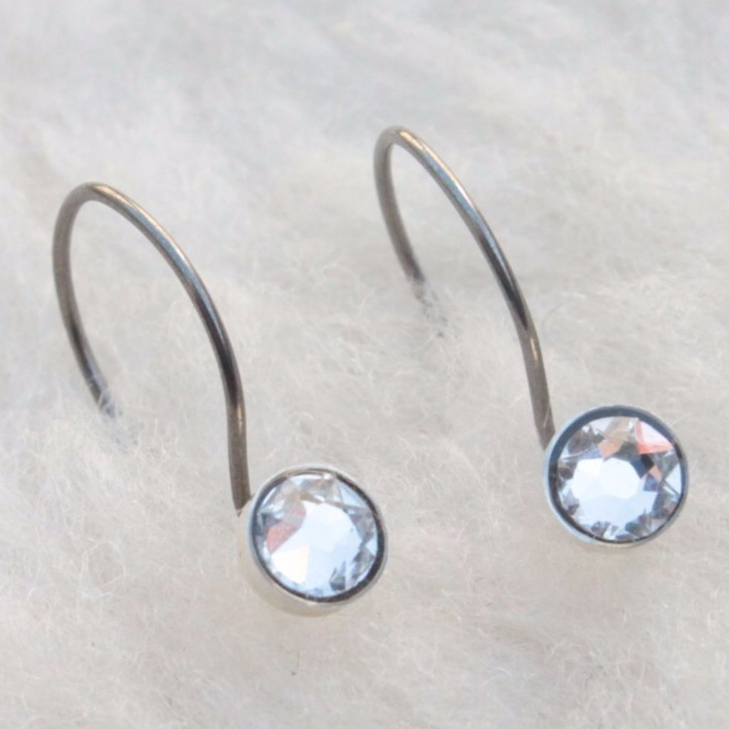 Niobium Drop Earrings With Bezel Set Swarovski Crystal 4mm 5mm Hypoallergenic And Nickel Free Stud For Sensitive Ears
