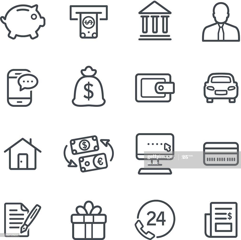 Line Banking Icons Banks Icon Line Icon Icon